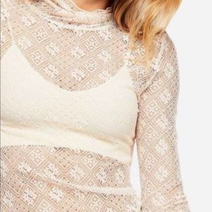 BNWT Free People Fired Opal Lace Shirt